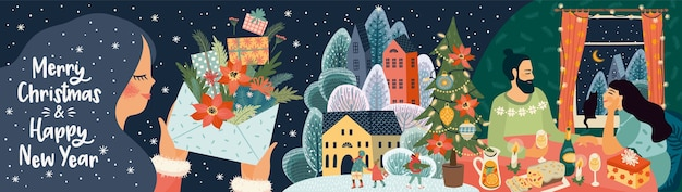 Kartkę z życzeniami bożego narodzenia i szczęśliwego nowego roku z ilustracją. modny styl retro.