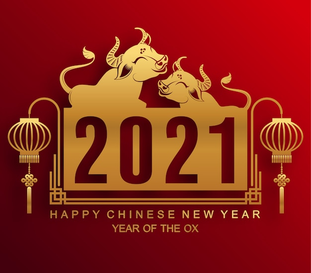 Kartkę z życzeniami chińskiego nowego roku 2021, rok wołu
