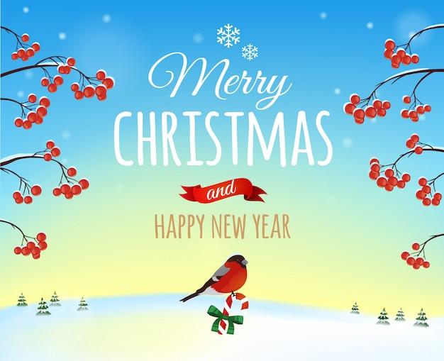Kartkę z życzeniami christmas, plakat. gil zwyczajny na zimowy krajobraz. . wesołych świąt i szczęśliwego nowego roku