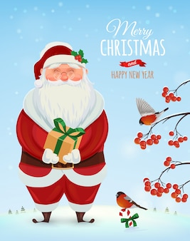 Kartkę z życzeniami christmas, plakat. śmieszny święty mikołaj na zimowy krajobraz i krzak z jagodami. . wesołych świąt i szczęśliwego nowego roku