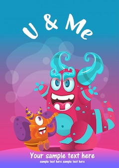 Kartkę z życzeniami cute potwora najlepsi przyjaciele