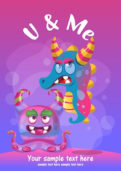 Kartkę Z życzeniami Cute Potwora Najlepsi Przyjaciele Premium Wektorów