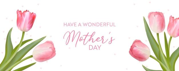 Kartkę z życzeniami dzień matki. tło wektor wiosna kwiatów. realistyczny projekt kwiatów tulipanów dla mamy. kobieta 8 marca dzień międzynarodowy ilustracja karta. szablon transparentu świątecznego, zaproszenie, broszura