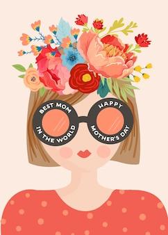 Kartkę z życzeniami dzień matki. wiosna szczęśliwy dzień matki transparent wakacje z kwiatami i mama charakter z bukietem na ulotki, plakat. ilustracja wektorowa