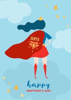 Kartkę z życzeniami dzień matki z super mama. postać matki superbohatera w red cape design plakat dzień matki, baner, tło. ilustracja kreskówka płaski wektor