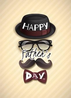 Kartkę z życzeniami dzień ojca z zabawny kapelusz, okulary, wąsy i muszka
