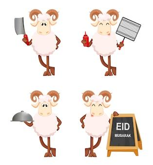 Kartkę z życzeniami eid al adha mubarak z zabawnym baranem
