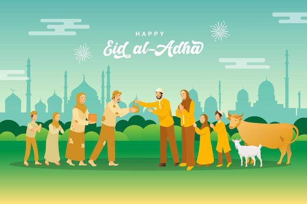 Kartkę z życzeniami id al-adha. muzułmańska rodzina dzieląca się mięsem zwierzęcia ofiarnego dla biednych ludzi