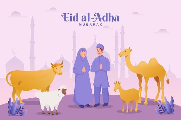 Kartkę z życzeniami id al-adha. para ze zwierzęciem ofiarnym świętującym eid al adha z meczetem w tle