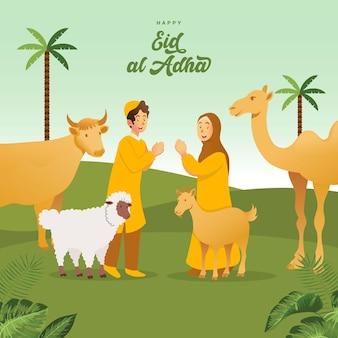 Kartkę z życzeniami id al-adha. śliczne muzułmańskie dzieci z kreskówek świętujące eid al adha ze zwierzętami ofiarnymi