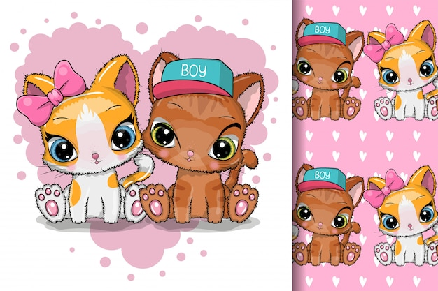 Kartkę z życzeniami kocięta chłopiec i dziewczynka na tle serca