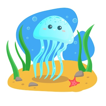 Kartkę z życzeniami lato. pocztówka. wektor. dno morskie. wesołych meduzy