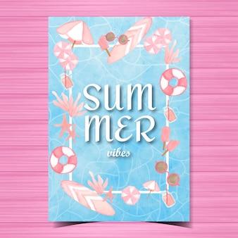 Kartkę z życzeniami lato z elementami plaży