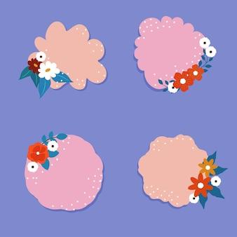 Kartkę z życzeniami lub lepkie ozdobione kwiatami i miejsca na tekst na niebieskim tle.