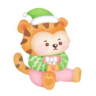 Kartkę z życzeniami na boże narodzenie i nowy rok z ładny tygrys w stylu przypominającym akwarele.