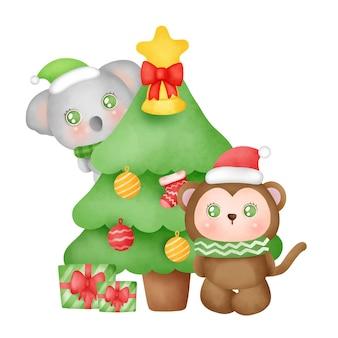 Kartkę z życzeniami na boże narodzenie i nowy rok z uroczą małpką i koalą w stylu akwareli.