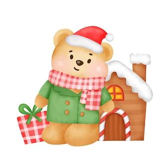 Kartkę z życzeniami na boże narodzenie i nowy rok z uroczym misiem i pudełkiem w stylu akwareli.