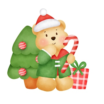 Kartkę z życzeniami na boże narodzenie i nowy rok z uroczym misiem w stylu przypominającym akwarele.