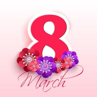 Kartkę z życzeniami na dzień 8 marca. kartkę z życzeniami w stylu cięcia papieru