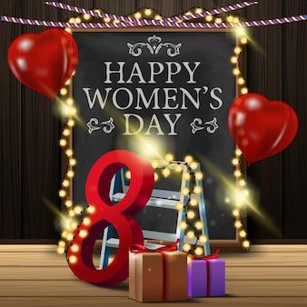 Kartkę z życzeniami na dzień kobiet z tablicy