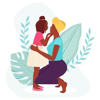 Kartkę z życzeniami na dzień matki. czarna kobieta z córką. ilustracja wektorowa