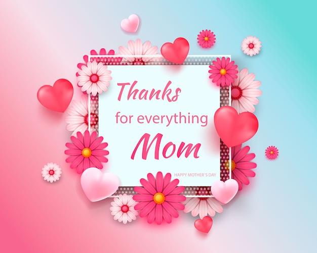 Kartkę z życzeniami na dzień matki z kwadratową ramą i papieru wyciąć kwiaty na kolorowe nowoczesne geometryczne tło.