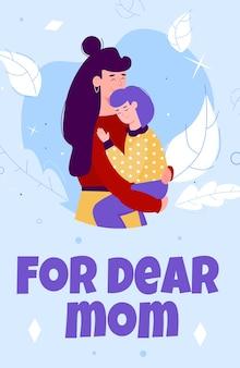 Kartkę z życzeniami na dzień matki z przytulaniem matki i dziecka