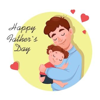 Kartkę Z życzeniami Na Dzień Ojca Z Uroczą Córką I Jej Ojcem Premium Wektorów
