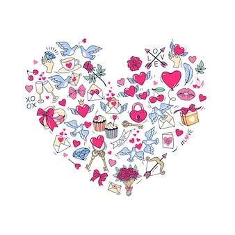 Kartkę z życzeniami na dzień świętego walentego. kształt serca składający się z symboli i elementów