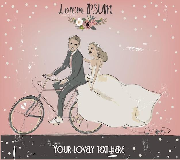 Kartkę z życzeniami na ślub. narzeczeni