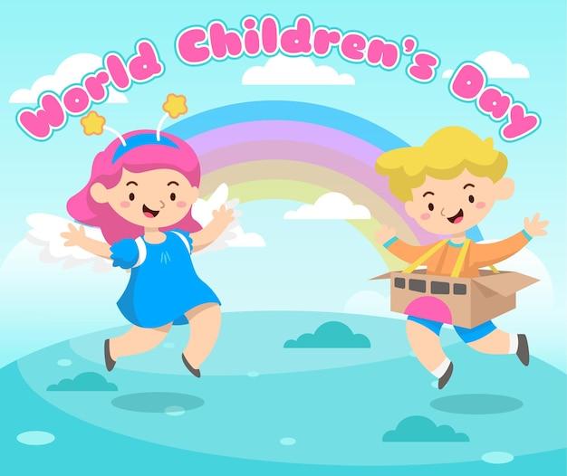 Kartkę z życzeniami na światowy dzień dziecka ze szczęśliwymi dziećmi i tęczą