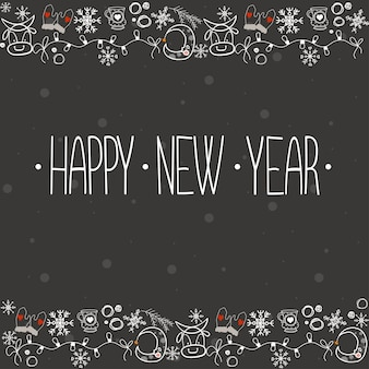 Kartkę z życzeniami na święta nowego roku wektor napis ilustracja w stylu światła kreskówka