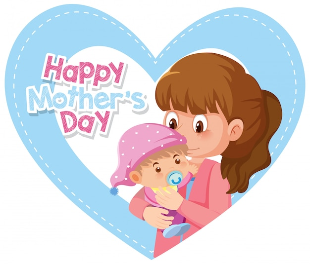 Kartkę z życzeniami na szczęśliwy dzień matki z mamą i dzieckiem