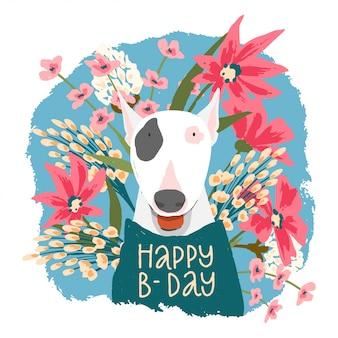 Kartkę z życzeniami na urodziny. ładny pies z kwiatami.