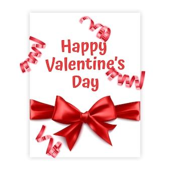 Kartkę z życzeniami na walentynki lub dzień kobiet ozdobioną czerwoną kokardą w realistycznym stylu kartkę z życzeniami