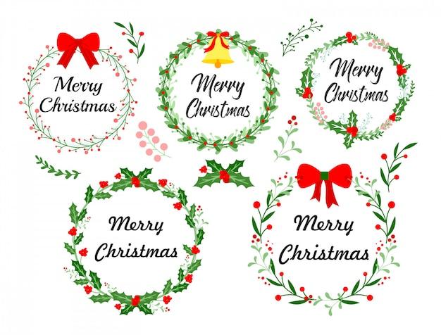 Kartkę z życzeniami nowego roku. wieniec bożonarodzeniowy z zimowymi kwiatowymi elementami. ilustracja w płaski na białym tle.