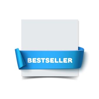 Kartkę z życzeniami papieru z zakrzywioną niebieską wstążką prezent na białym tle. realistyczna ilustracja białej kartki papieru ze wstążką z miejscem na tekst na baner i dekorację