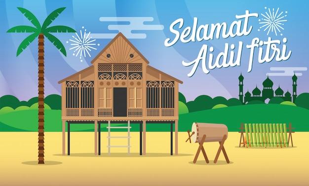 Kartkę z życzeniami selamat hari raya aidil fitri w płaskiej ilustracji z tradycyjnym malajskim wiejskim domem / kampung, meczet, bęben i lamang