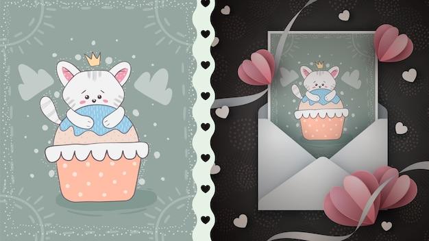 Kartkę z życzeniami słodki kot.