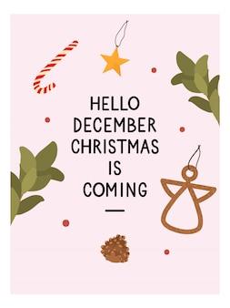 Kartkę z życzeniami świąteczno-noworocznymi z tradycyjnymi elementami zimowymi w stylu hygge. przytulny sezon zimowy. skandynawski.