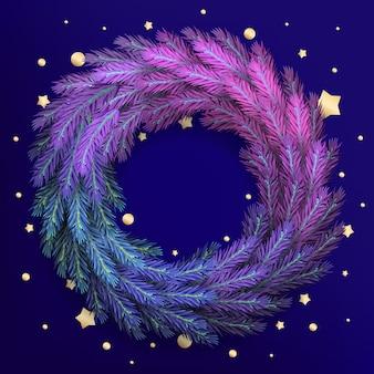Kartkę z życzeniami świątecznymi dla wesołych świąt z realistycznym kolorowym wieńcem z gałęzi sosny i brokatem