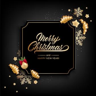 Kartkę z życzeniami świątecznymi dla wesołych świąt z realistycznymi kolorowymi przedmiotami, ozdobionymi bombkami, złotymi gwiazdkami, płatkami śniegu, zwijającymi się wstążkami
