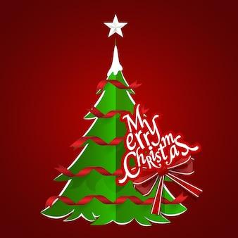 Kartkę z życzeniami świątecznymi. wesołych świąt bożego narodzenia napis z choinką.