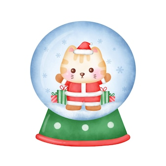 Kartkę z życzeniami świątecznymi z ładny kot w stylu przypominającym akwarele.
