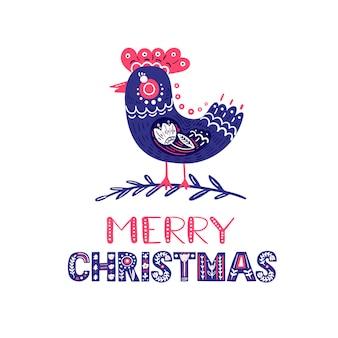 Kartkę z życzeniami świątecznymi z ptakiem i ręcznie rysowane napis w stylu ludowym vector christmas card