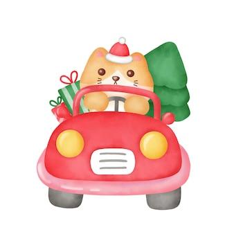 Kartkę z życzeniami świątecznymi z uroczym kotem i choinką w stylu przypominającym akwarele.
