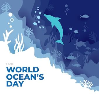 Kartkę z życzeniami światowego dnia oceanu z papierowym stylem sztuki