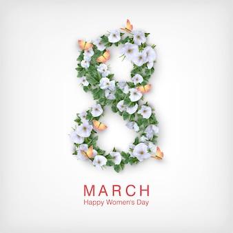Kartkę z życzeniami szczęśliwego dnia kobiet. pocztówka z 8 marca
