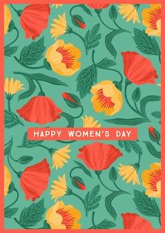 Kartkę z życzeniami szczęśliwego dnia kobiet z pięknymi kwiatami
