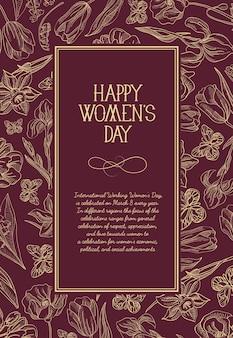 Kartkę z życzeniami szczęśliwego dnia kobiet z wieloma kwiatami po prawej stronie czerwonego tekstu z ilustracją pozdrowienia